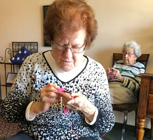 Joan and Mildred are working on a project with the Casual Crocheter's.