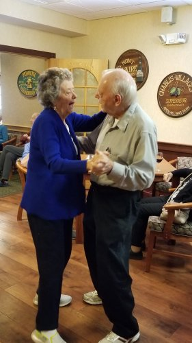 Jim and Eileen dancing to the music played by Dick Valentine at Happy Hour.