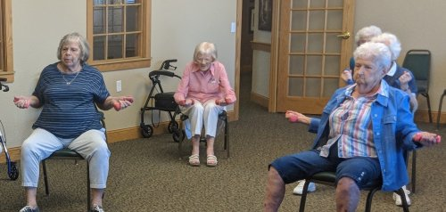 Betty, Priscilla, and Marilyn exercise with Kathy on Tuesday mornings.