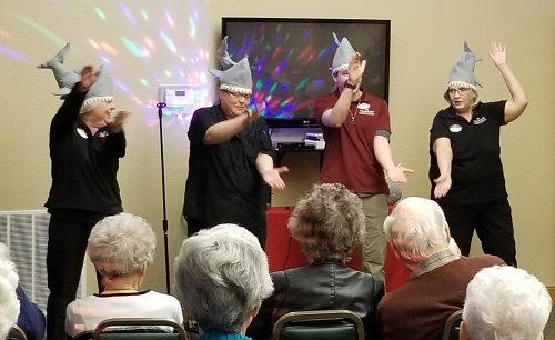 February Follies, residents entertained by the staff was a hit. The kitchen staff did the song Baby Shark.