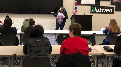 Ashley talked to the students about why the residents were there and some of what is offered for them at Primrose in the health care field.