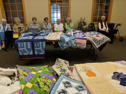 Quilt Show at Primrose of Lima the ladies enjoyed sharing there quilts and having Heavenly Stitches talk about different quilts.