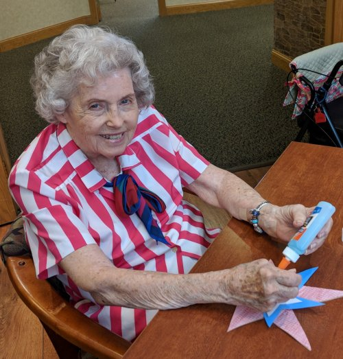 Wilma enjoyed making a patriotic decoration for her door.