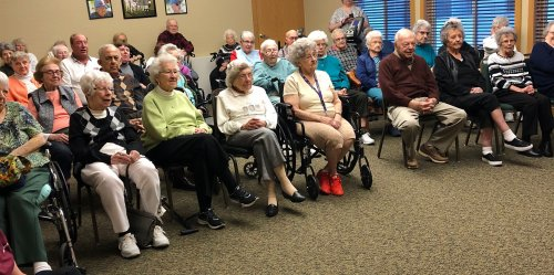 The Wellness Center was packed, plus some were sitting in the hall to see the staff entertain at the February Follies.