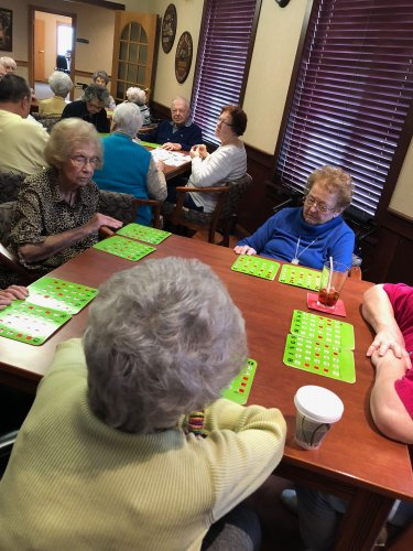 Bingo is a serious game at Primrose of Lima. Rhea,Jean, and Edith are hoping for their numbers to be called.