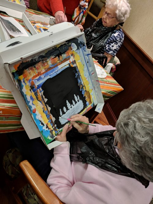 Dorothy is getting her trees done for the painting that is hosted by Awakening Minds Art.