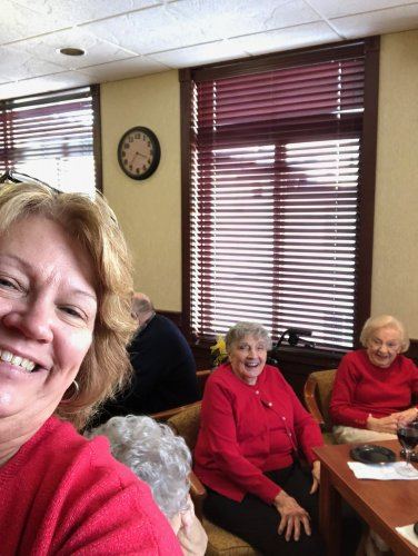 Larrain took a selfie with Jean and Jennie wearing RED for Women Heart health