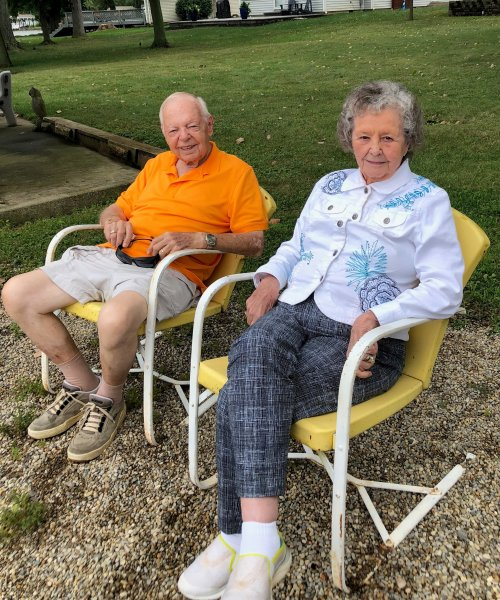 Jim & Eileen love sitting out by Indian Lake at Betsy's Cottage.