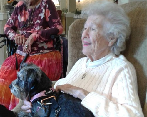 Betty enjoys visits from Piper.