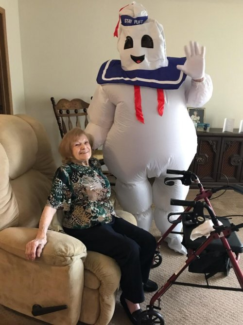 Jan had a surprise visit for the Marshmallow Man at lunch time.