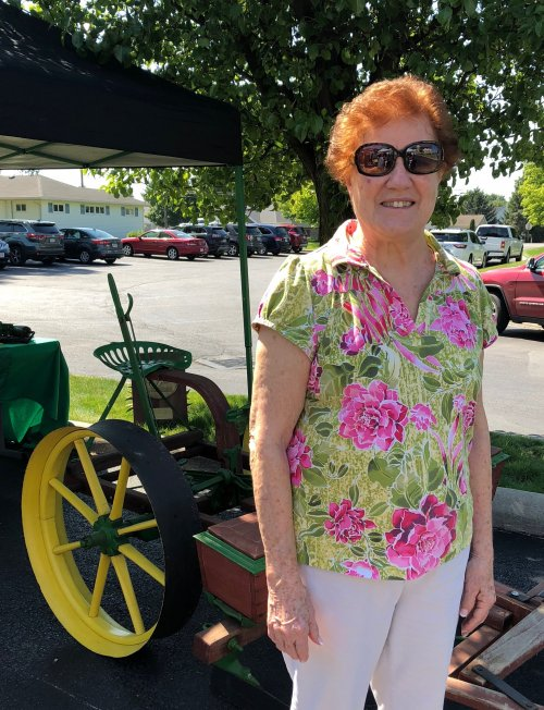 Joan enjoyed looking at the old planter and tractors at the Antique Tractor Showcase.