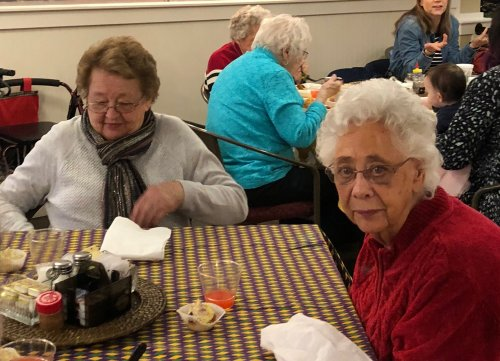 Edith and Geneva enjoyed Mardi Gras with delicious food and music by the Shawnee High School Jazz Band.