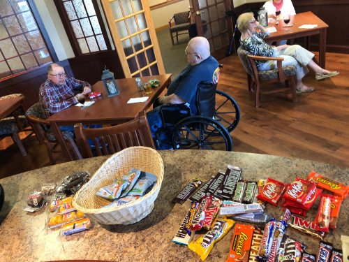 Happy Hour Social Distancing- Look at the goodies the residents enjoyed.