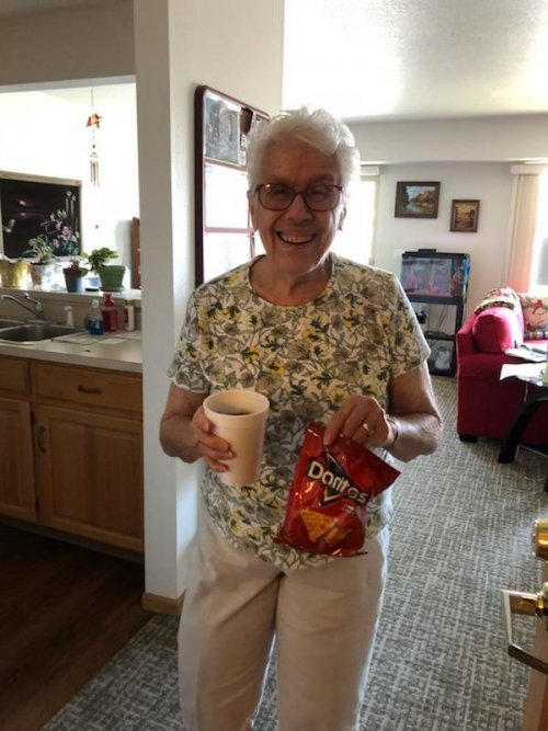 Lvera enjoys the goodies from Primrose of Lima's Happy Cart on Friday's.