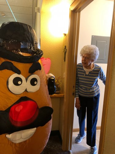 Mr Potato Head surprised Audrey at her door at lunch time!