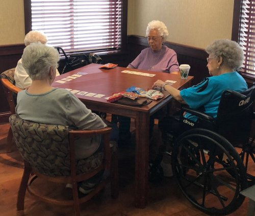 This group of ladies are serious Card Bingo Players.