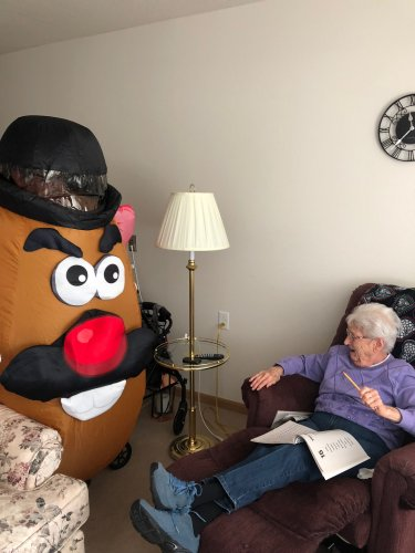 Mr Potato Head Surprised Marilyn with a visit. She was glad he couldn't fit between her furniture.