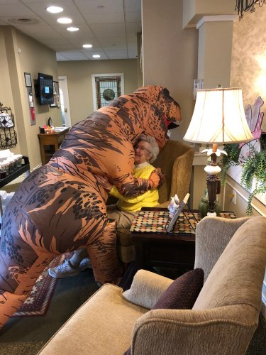 Look who is not keeping the 6 feet rule. Is there anything about dinosaurs. Betty still loved the Hug.