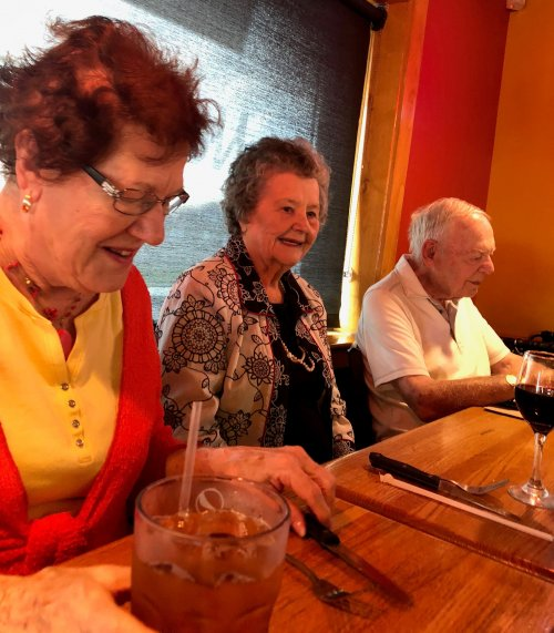 Joan, Eileen and Jim enjoyed a mystery dinner out to Apple Bee's. They all three said it was one of their favorite places to eat.