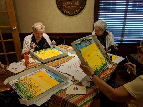 Jean & Mildred are painting a beautiful picture!
