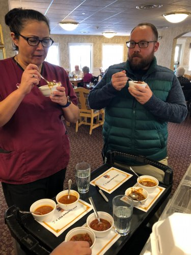 Nurse Tonya and Driver Wes were the judges of the Chili Cook-off. They had a hard time choosing the winner.