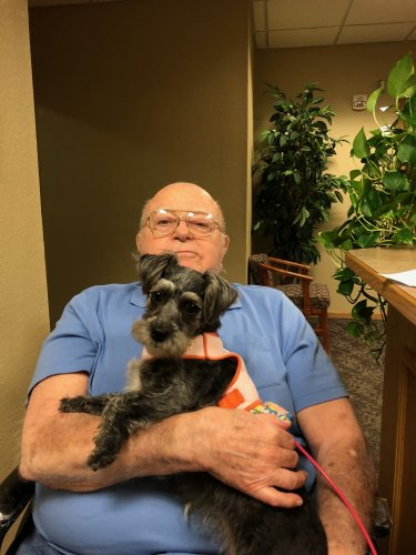 Bob stopped for a visit with Piper this week. She has brought a lot of smiles to the residents faces.