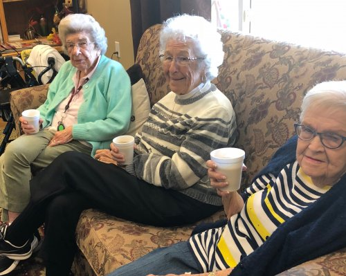 Helen, Betty and Jean enjoy a hot cup of French Vanilla Cappuccino on a cool fall day.