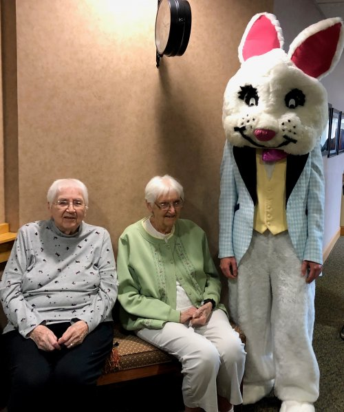 Peter Cotton Tail visited these two sister Norma And Mary.