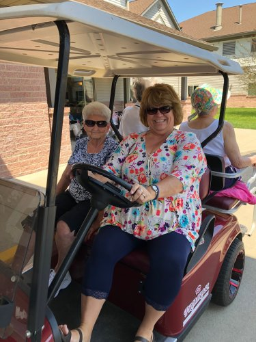 We are enjoying an adventure ride on the Golf Cart.