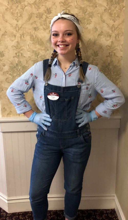 The theme for today was dress like a farmer and Paige, RA did a great job pulling it off!