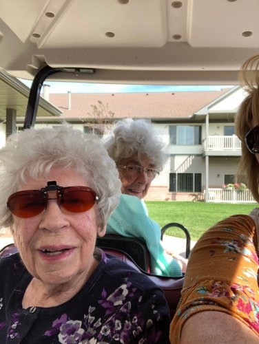 Betty N. and Helen V. enjoyed a Golf Cart Ride on a beautiful fall day!
