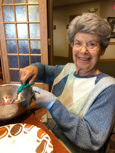 Rose is mixing up dill pickle dip for Happy Hour.