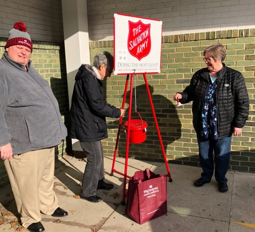 Jason and Linell rang the bells for the Salvation Army and Alberta one of the residents contributed.