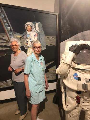 Geneva and Helen are checking out the different exhibits at the Neil Armstrong Museum.