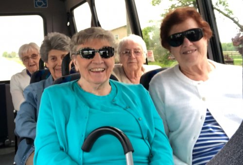 Our first country drive! Jean, Joan Rose, Norma,and Mary are enjoying the adventure.