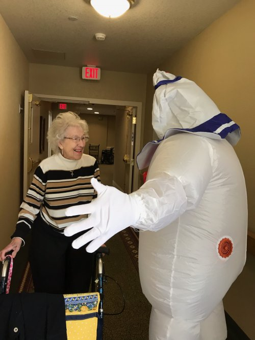 Betty was thinking Marshmallow Man would be good with a Graham Cracker and Chocolate. She loves her so'mores.