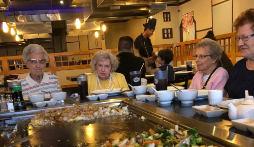 These ladies enjoyed the chef at Yamato Grill for lunch. Alberta, Wilma, Betty and Joan