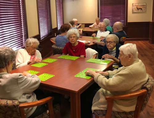 Bingo is always a hit especially when Bridge Home Health brings cupcakes and cookies for prizes.