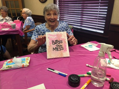 Jean is proud of her Bless This Mess Chalk Couture picture she made.It was fun and easy to do with the assistance of Tonya.