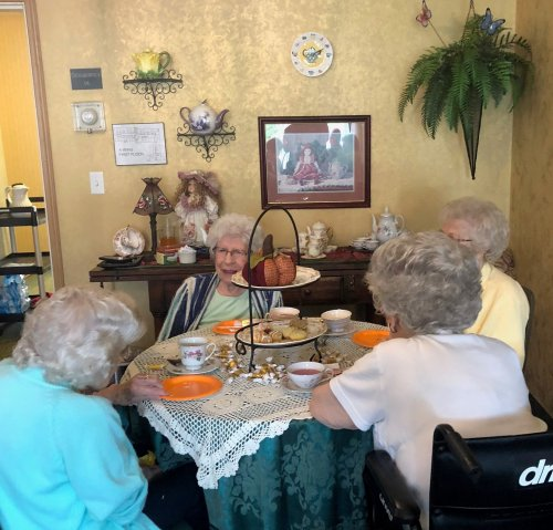 Betty N., Betty S. Helen and Rhea Are enjoying their afternoon tea during 'A Spark Of Creativity' Assisted living week.