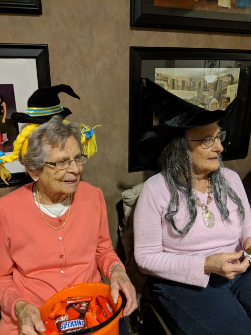 Betty and Dorothy are waiting in anticipation of the little ghosts and goblins.