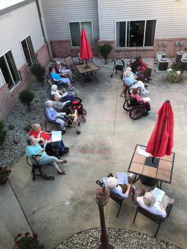 The residents enjoyed a sing-a-long on the Patio.