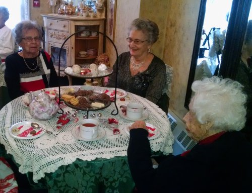 Betty , Dorothy And Gerry enjoying tea and cookies at the Christmas Tea.