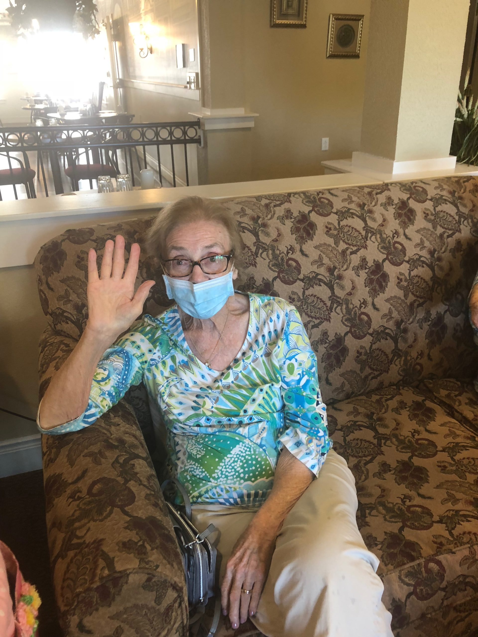 Shirley says hello and that she is wearing her mask.