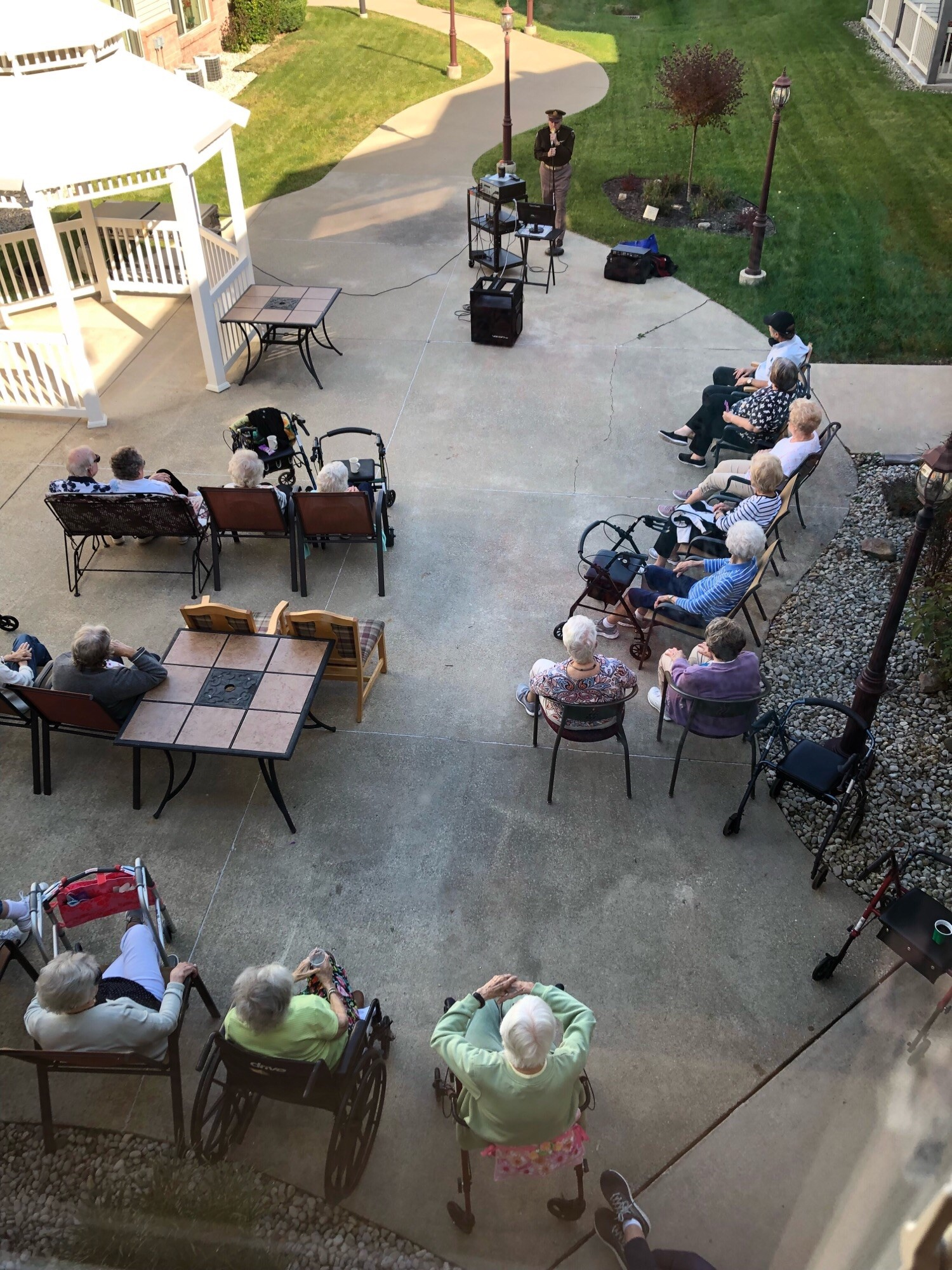 Residents enjoying the entertainment on a Fall Afternoon. At least we didn't have to wear winter coats.