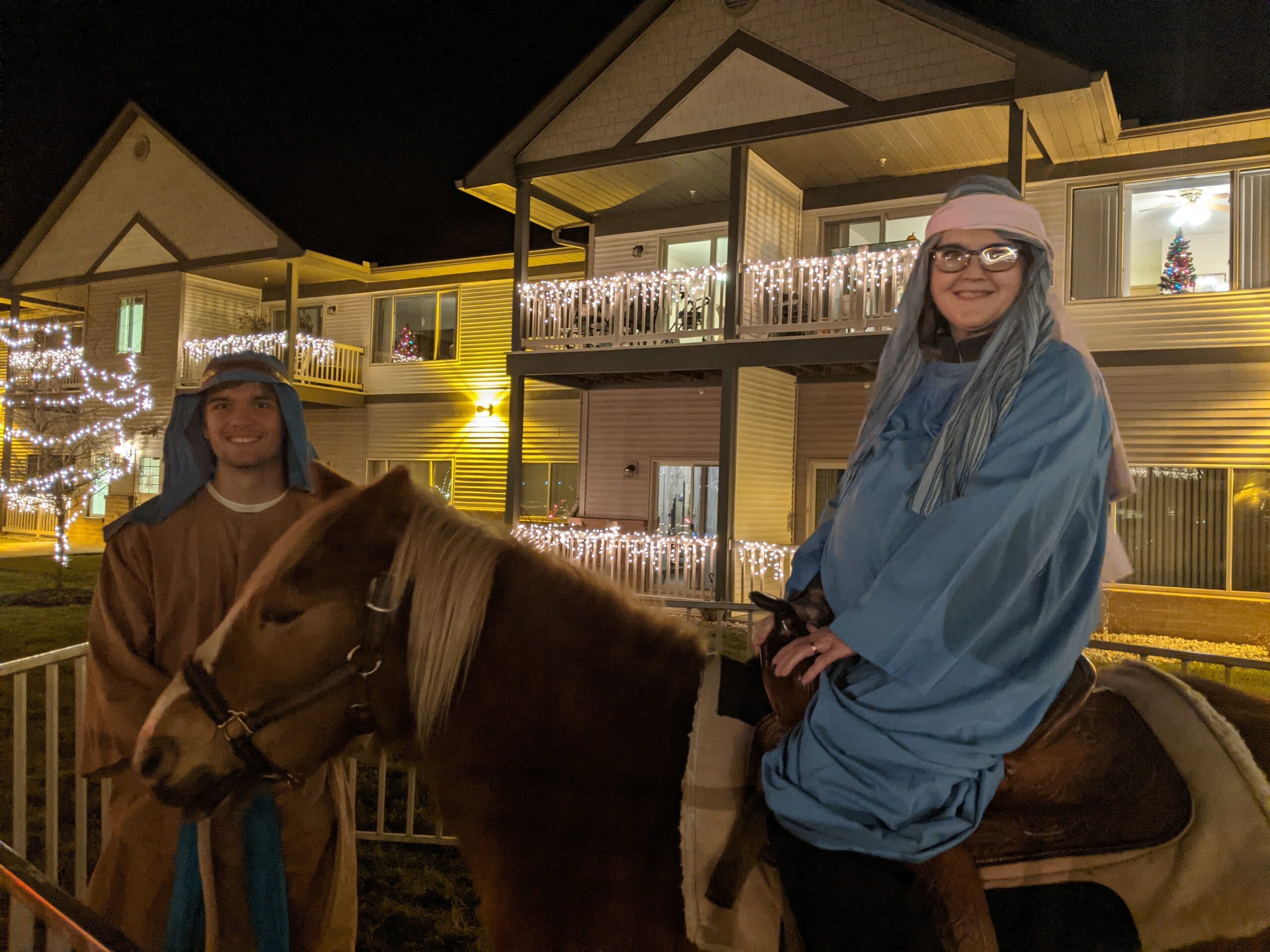 Lisa B. (DON)  And Colton F. (Dietary) were Mary and Joseph for the Live Nativity.