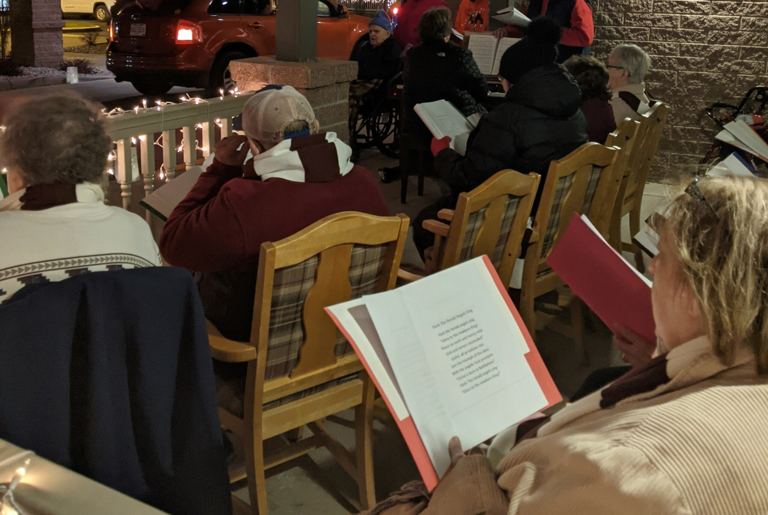 The resident choir sang for the Live Nativity at Primrose of Lima.