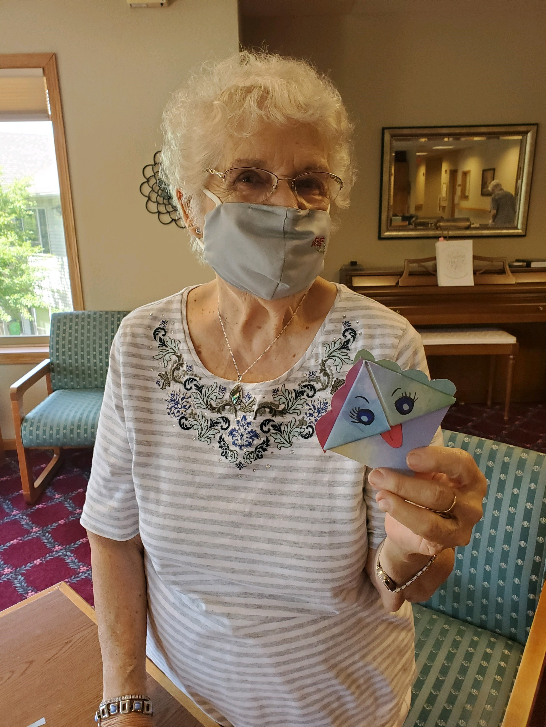 How cute is Norma's origami project? Great for dexterity too!