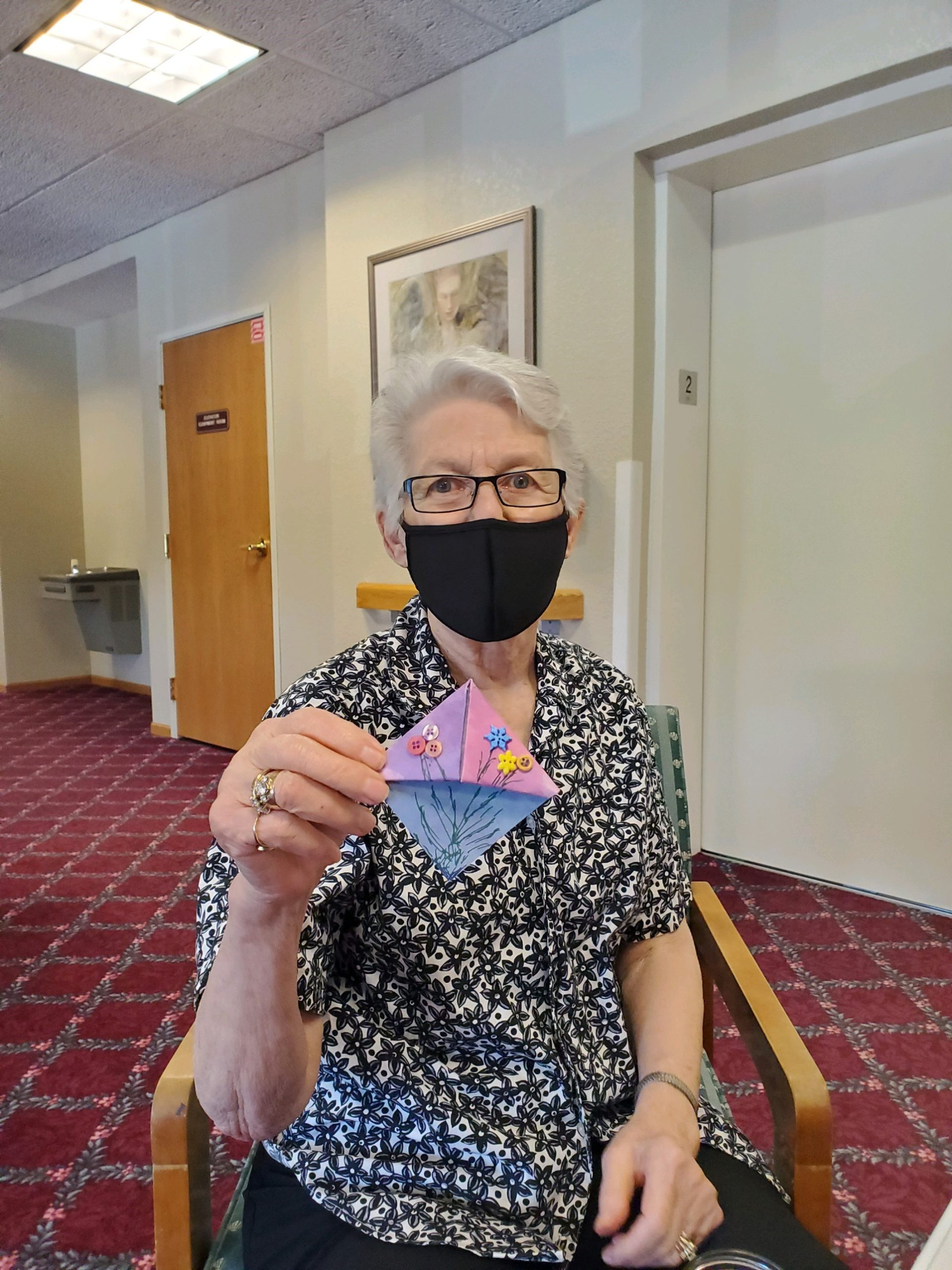 Mary attends many of our crafts and always has a unique way *typically very funny* of showing it off!
