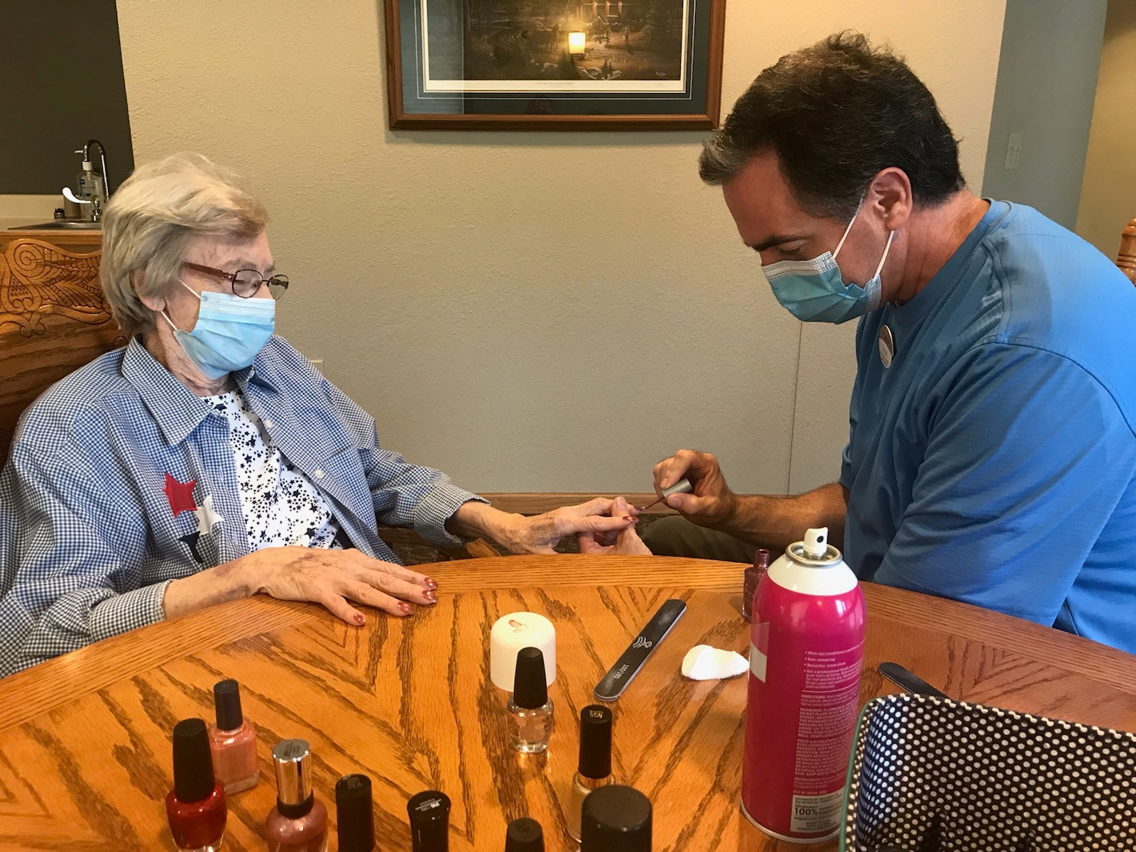 Weekly manicures are back as Steve, our LEC, pampers Judy! (She just happens to be his mother.)